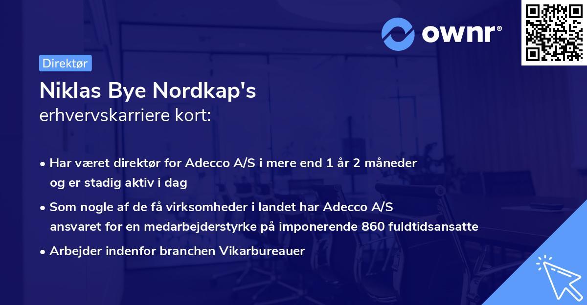 Niklas Bye Nordkap's erhvervskarriere kort
