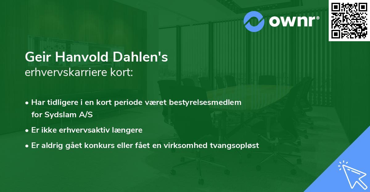 Geir Hanvold Dahlen's erhvervskarriere kort