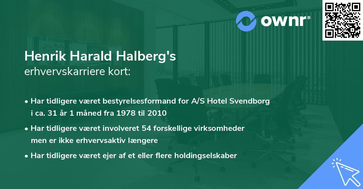 Henrik Harald Halberg's erhvervskarriere kort