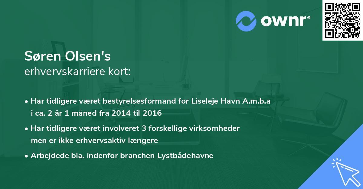 Søren Olsen's erhvervskarriere kort