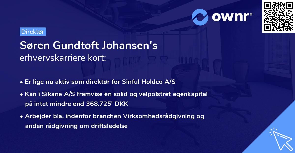 Søren Gundtoft Johansen's erhvervskarriere kort