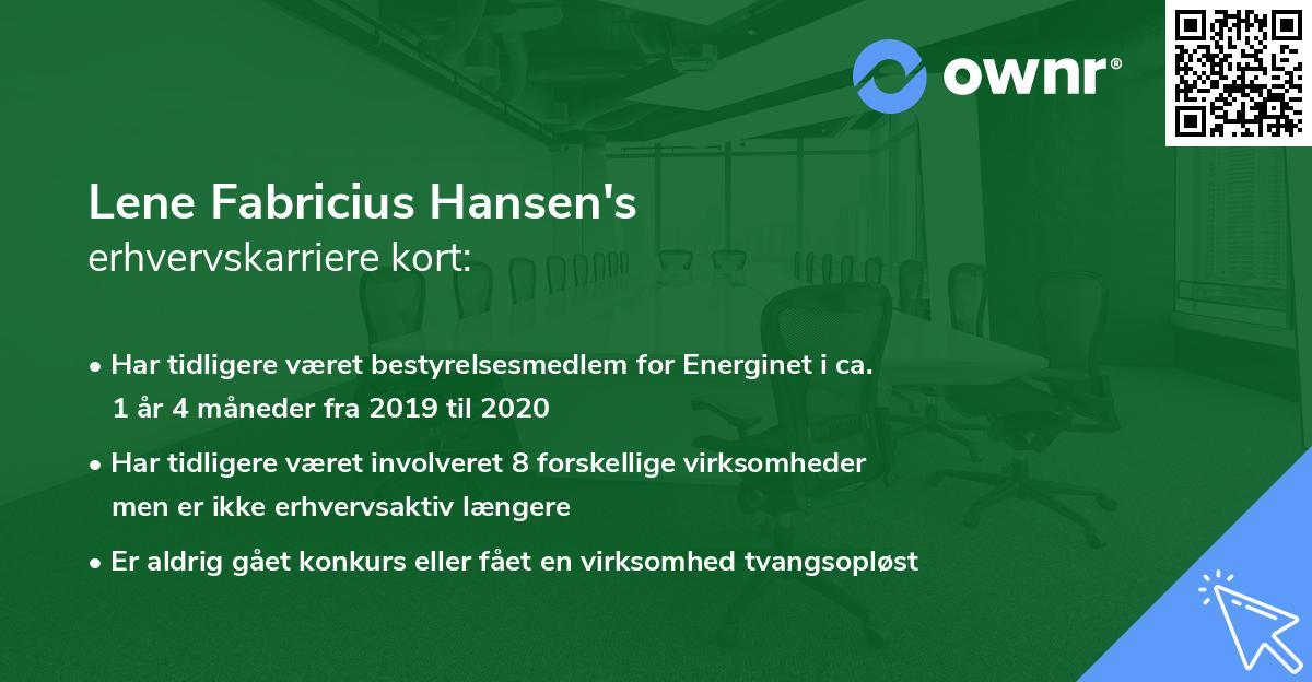 Lene Fabricius Hansen's erhvervskarriere kort