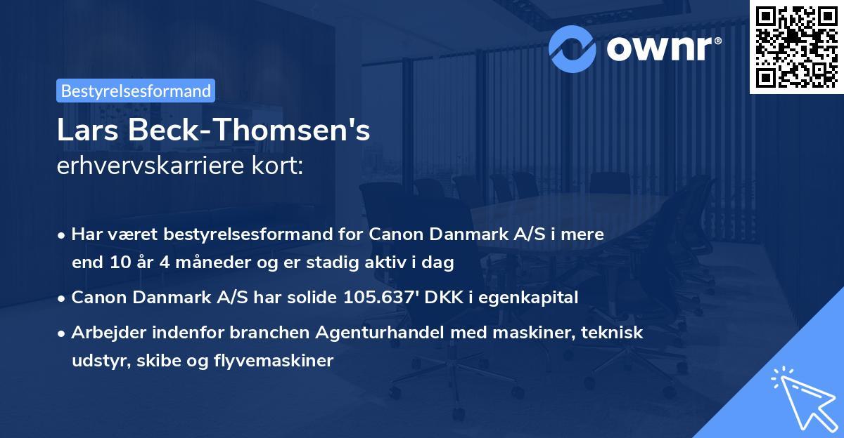 Lars Beck-Thomsen's erhvervskarriere kort
