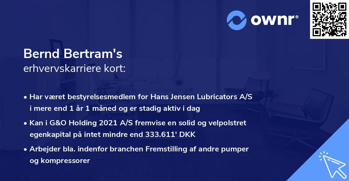 Bernd Bertram's erhvervskarriere kort
