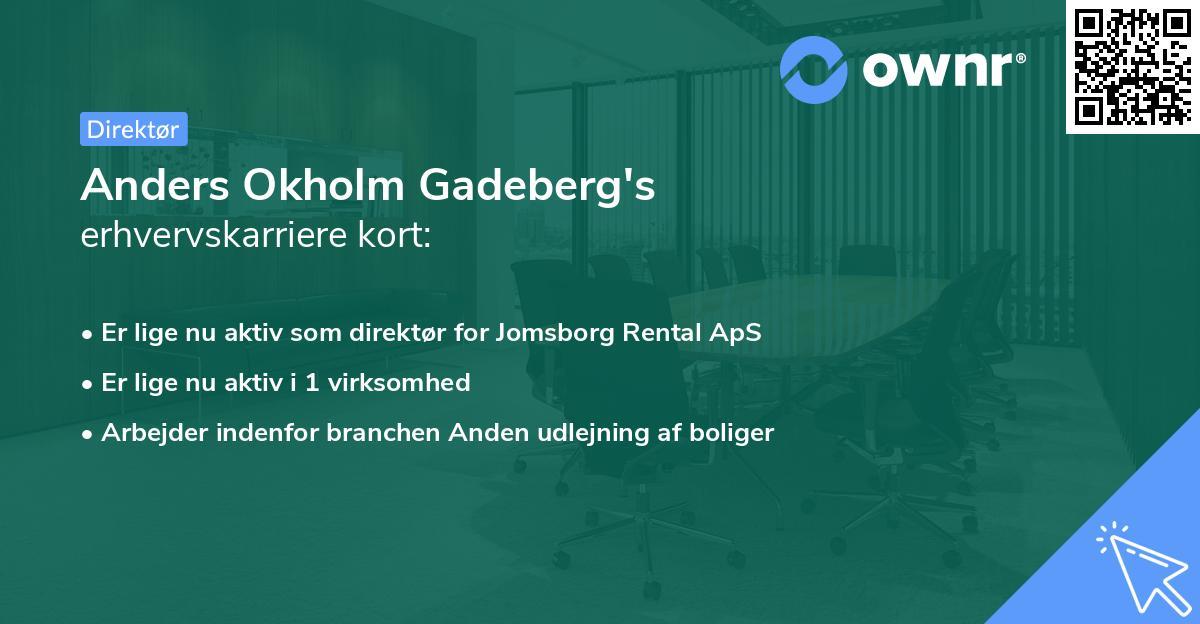 Anders Okholm Gadeberg's erhvervskarriere kort