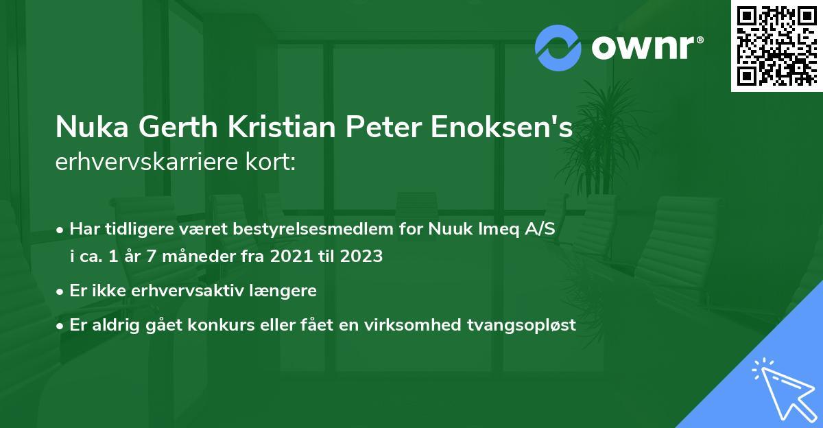 Nuka Gerth Kristian Peter Enoksen's erhvervskarriere kort