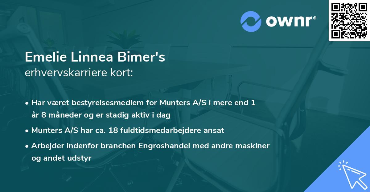 Emelie Linnea Bimer's erhvervskarriere kort