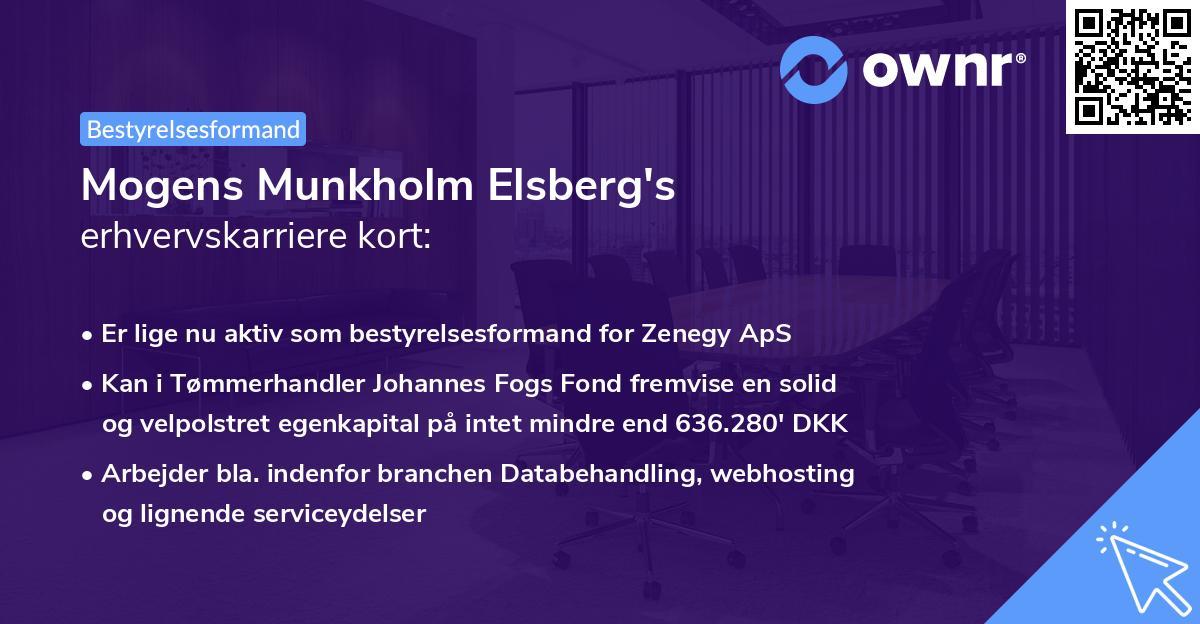 Mogens Munkholm Elsberg's erhvervskarriere kort