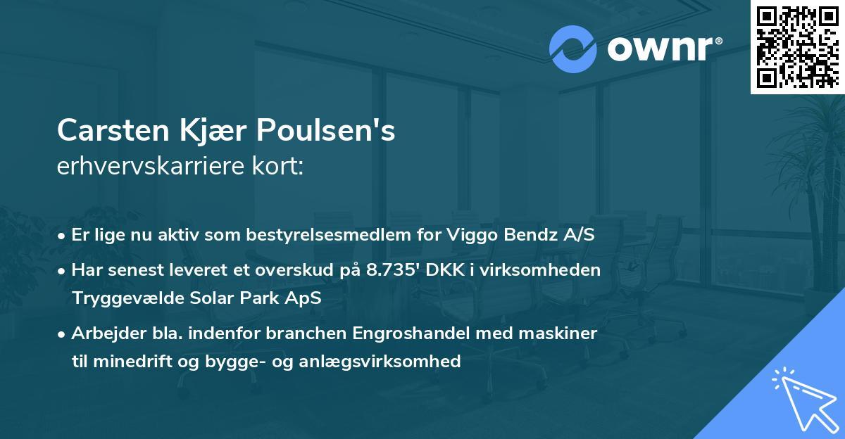 Carsten Kjær Poulsen's erhvervskarriere kort