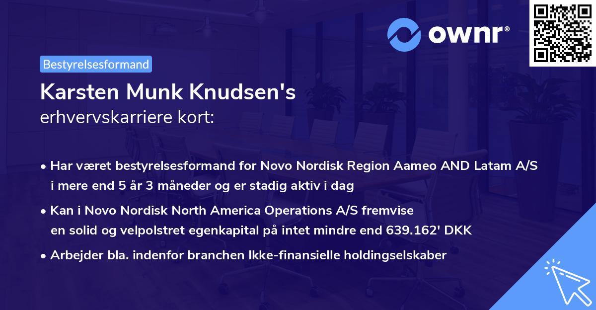 Karsten Munk Knudsen's erhvervskarriere kort