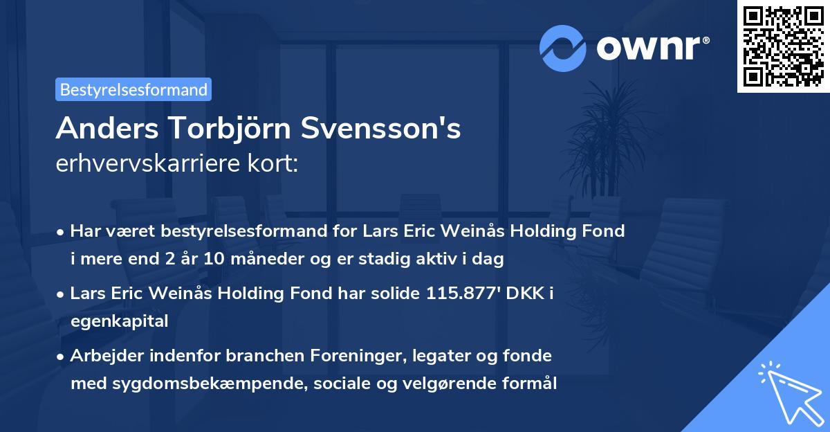 Anders Torbjörn Svensson's erhvervskarriere kort