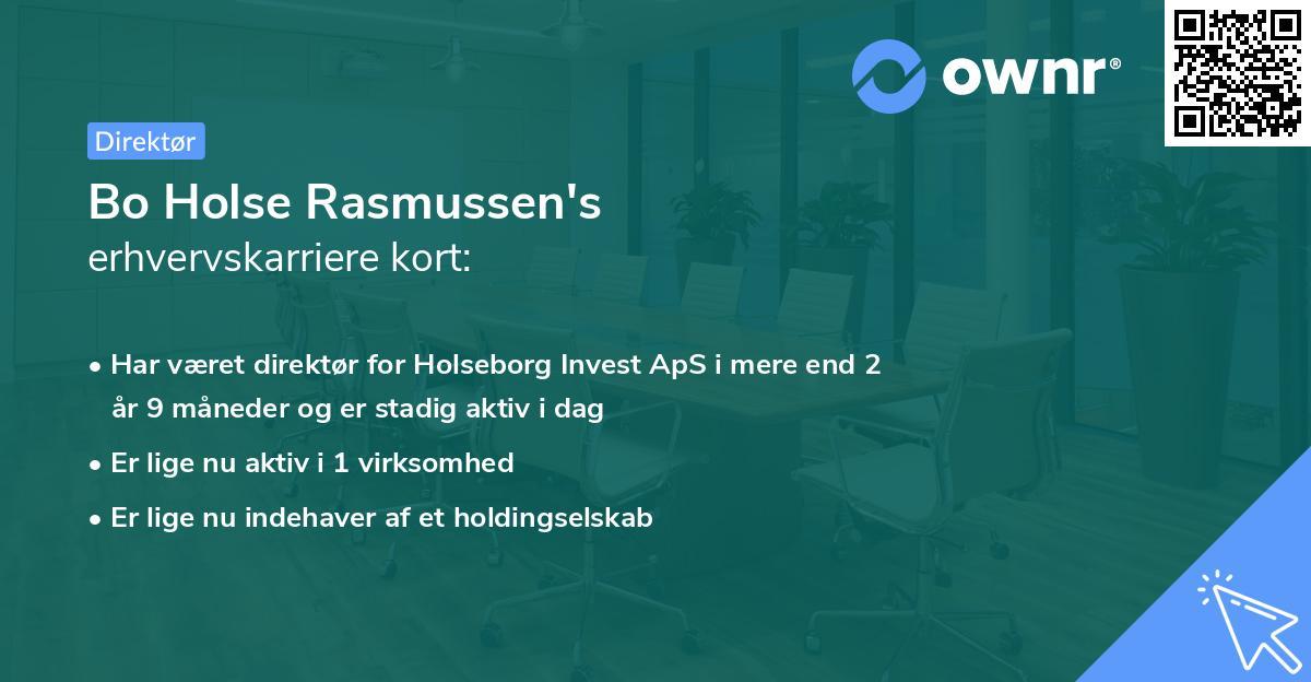 Bo Holse Rasmussen's erhvervskarriere kort