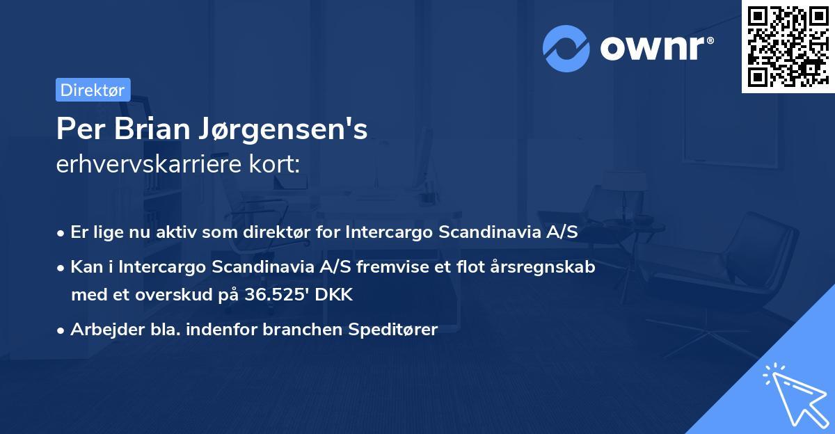 Per Brian Jørgensen's erhvervskarriere kort