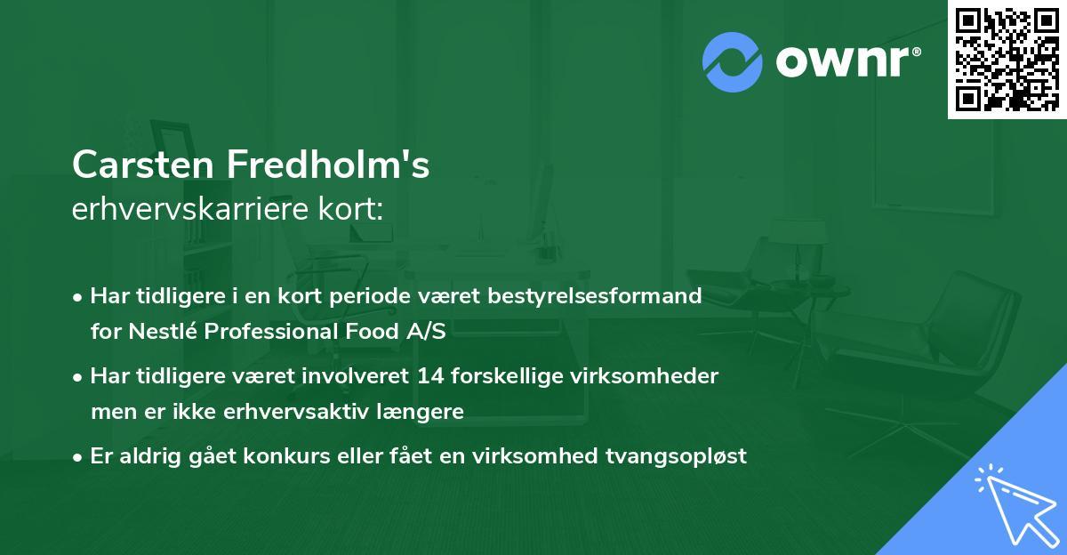 Carsten Fredholm's erhvervskarriere kort