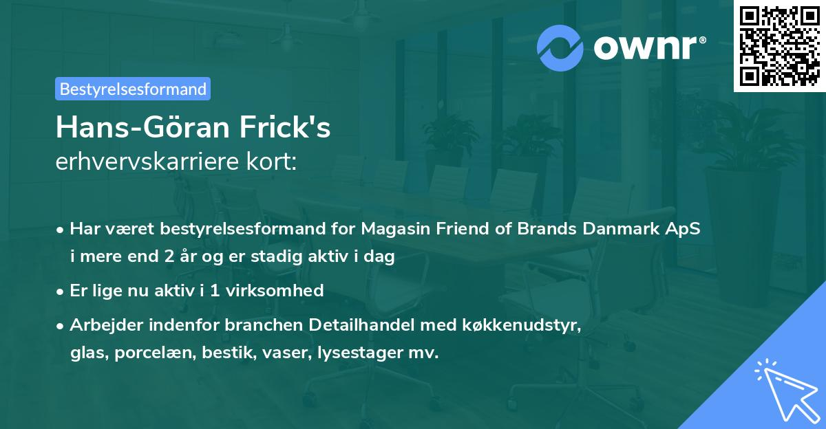 Hans-Göran Frick's erhvervskarriere kort