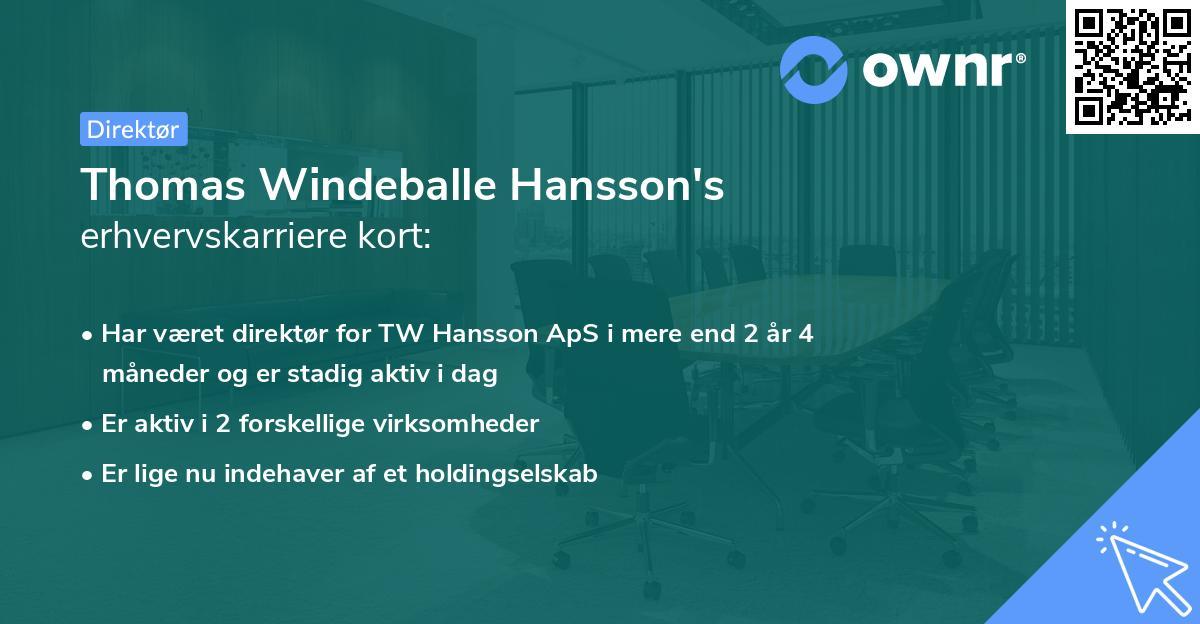 Thomas Windeballe Hansson's erhvervskarriere kort