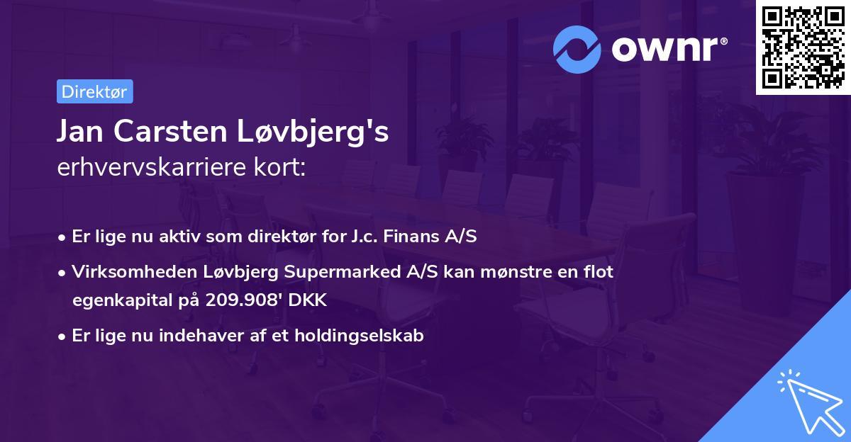 Jan Carsten Løvbjerg's erhvervskarriere kort