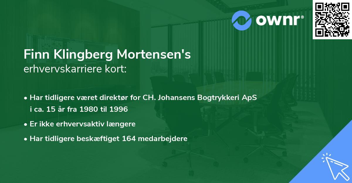 Finn Klingberg Mortensen's erhvervskarriere kort