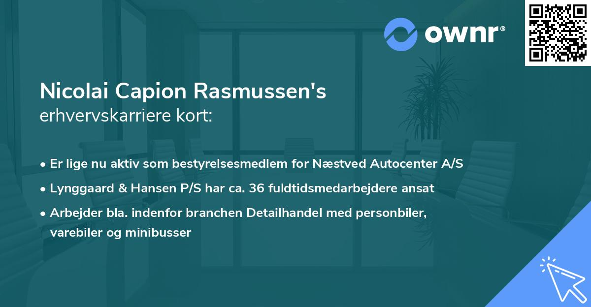 Nicolai Capion Rasmussen's erhvervskarriere kort