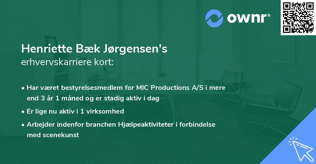Henriette Bæk Jørgensen's erhvervskarriere kort