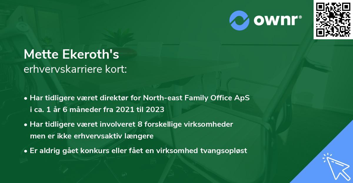 Mette Ekeroth's erhvervskarriere kort