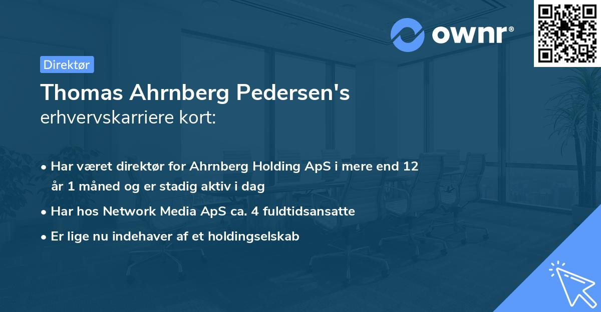 Thomas Ahrnberg Pedersen's erhvervskarriere kort