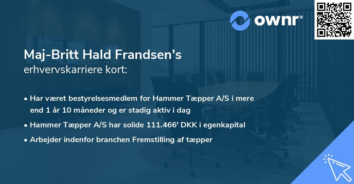 Maj-Britt Hald Frandsen's erhvervskarriere kort