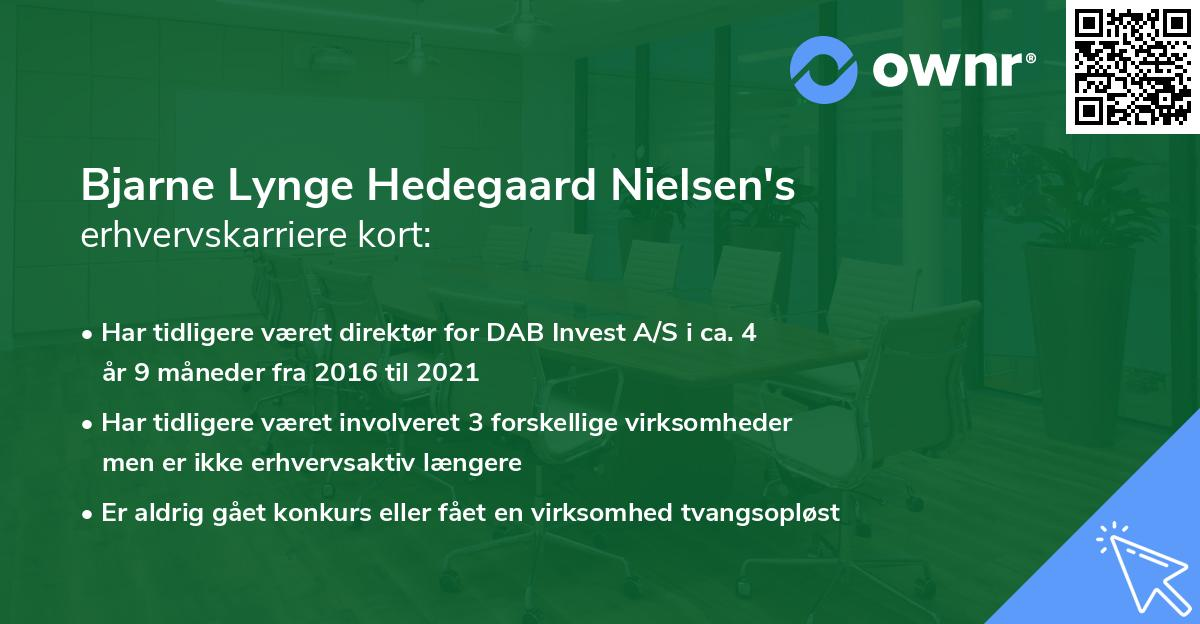 Bjarne Lynge Hedegaard Nielsen's erhvervskarriere kort