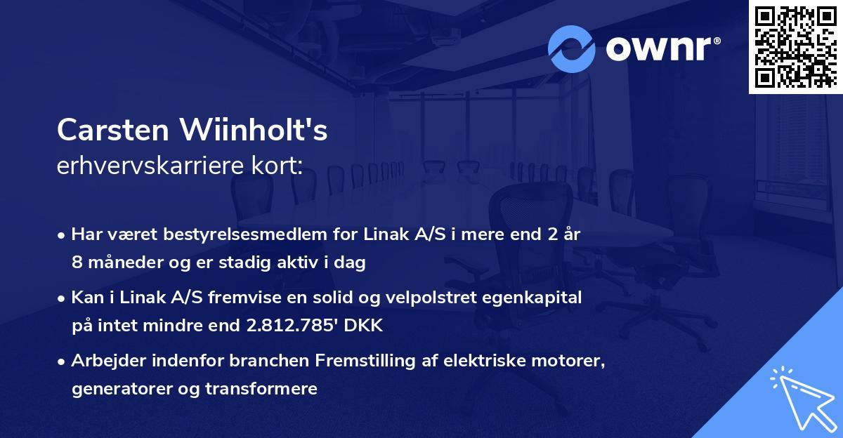 Carsten Wiinholt's erhvervskarriere kort