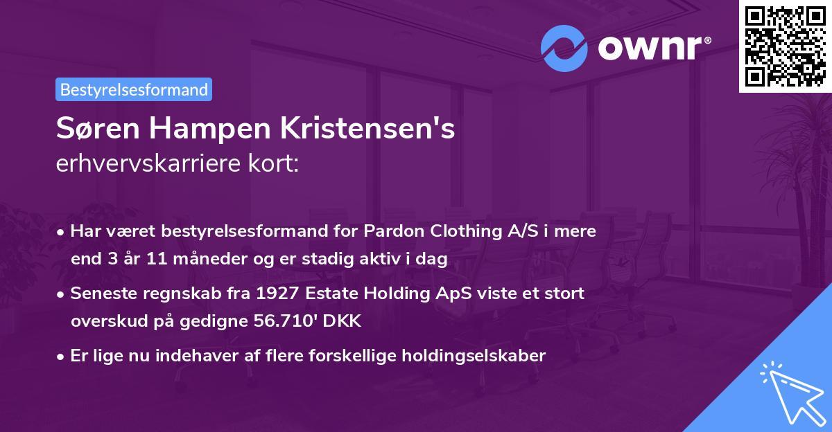 Søren Hampen Kristensen's erhvervskarriere kort