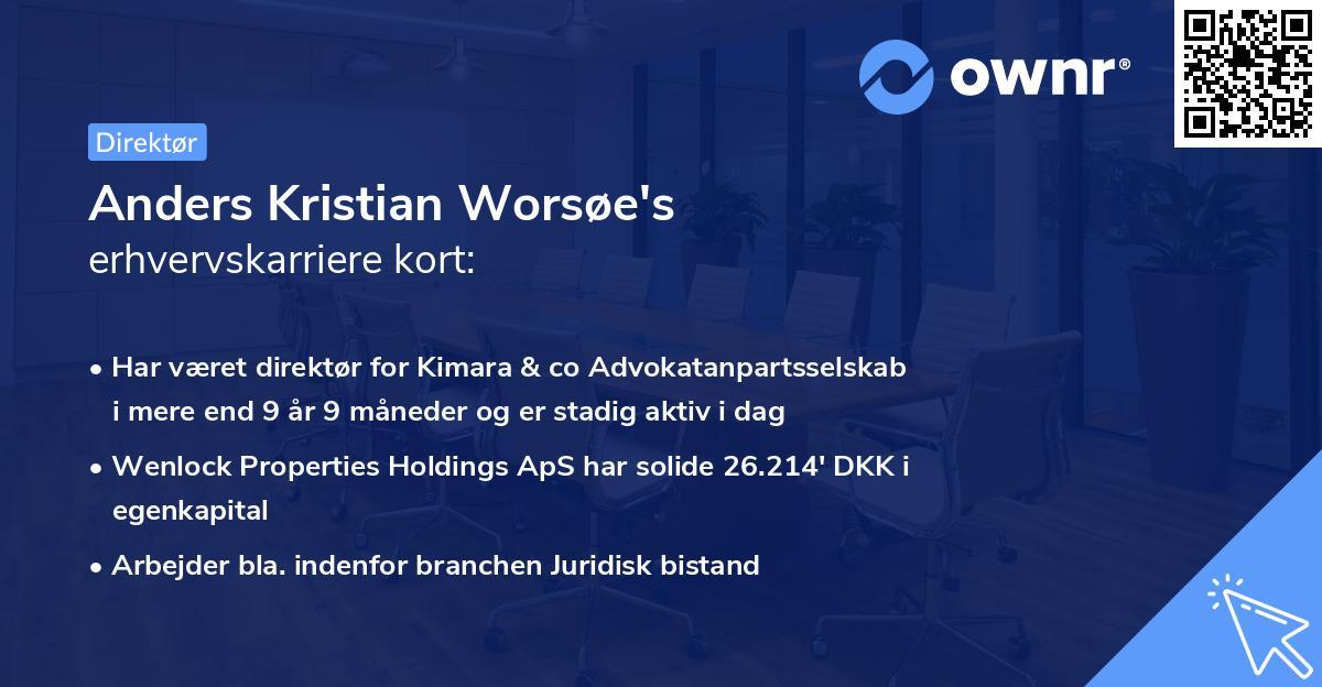 Anders Kristian Worsøe's erhvervskarriere kort