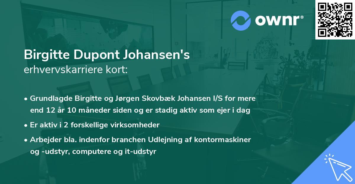 Birgitte Dupont Johansen's erhvervskarriere kort