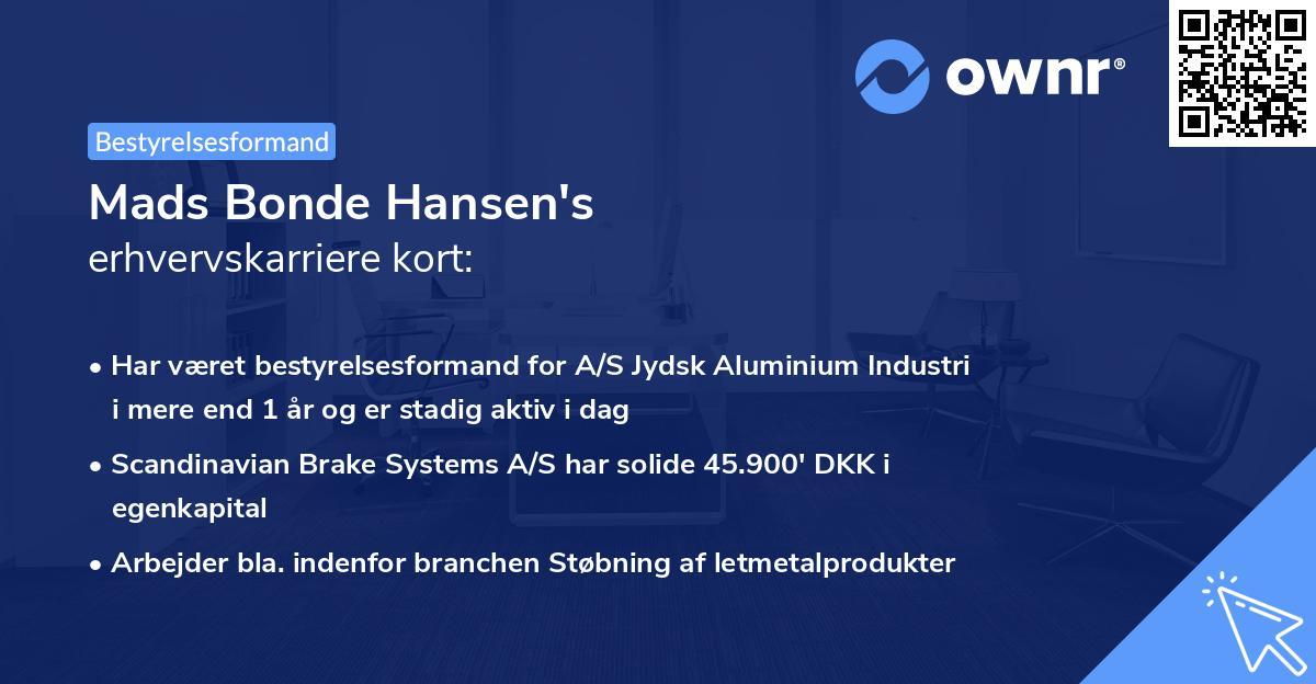 Mads Bonde Hansen's erhvervskarriere kort