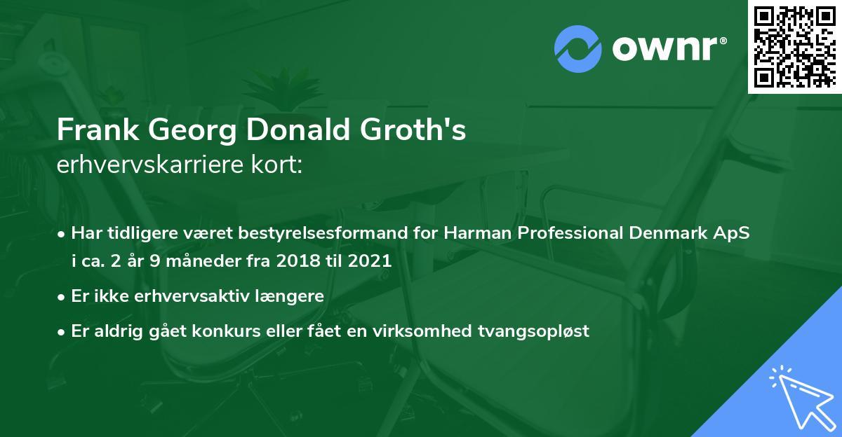 Frank Georg Donald Groth's erhvervskarriere kort