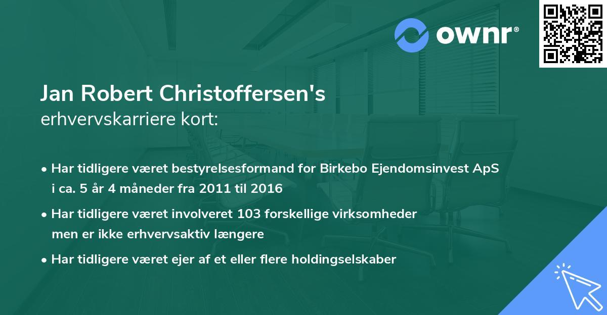 Jan Robert Christoffersen's erhvervskarriere kort