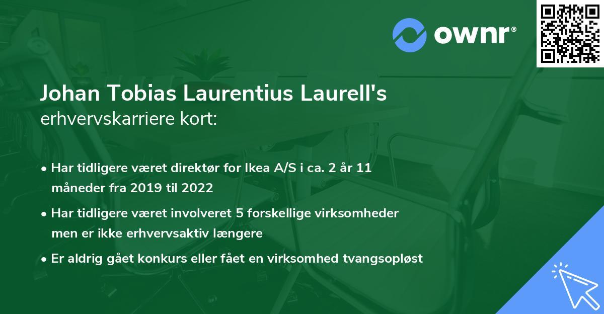 Johan Tobias Laurentius Laurell's erhvervskarriere kort