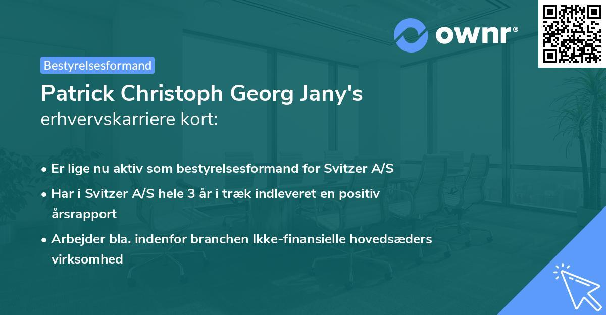 Patrick Christoph Georg Jany's erhvervskarriere kort