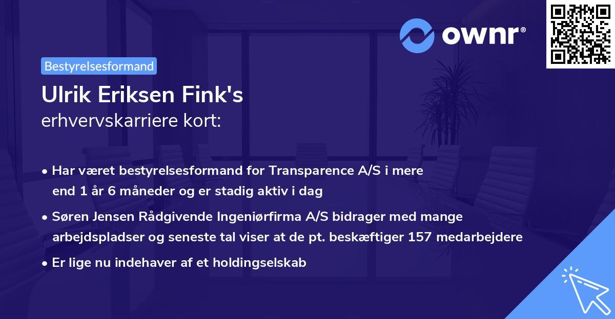 Ulrik Eriksen Fink's erhvervskarriere kort