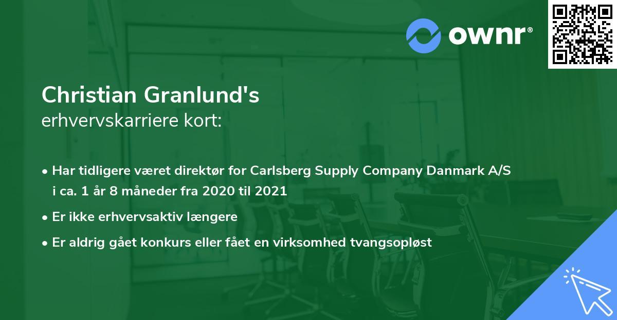 Christian Granlund's erhvervskarriere kort