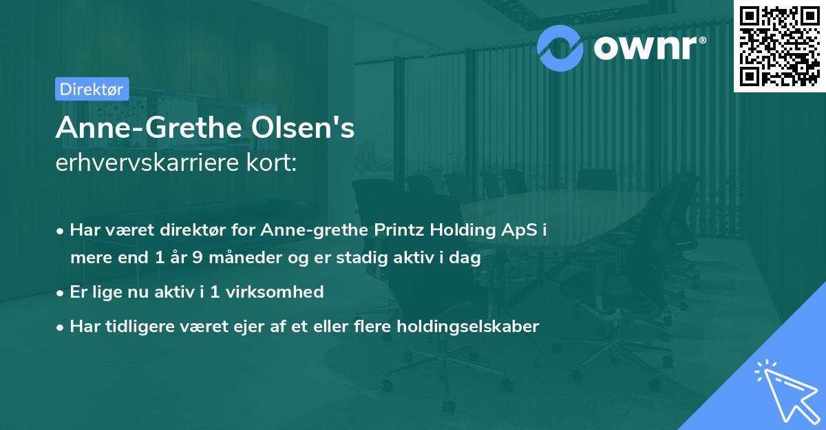 Anne-Grethe Olsen's erhvervskarriere kort