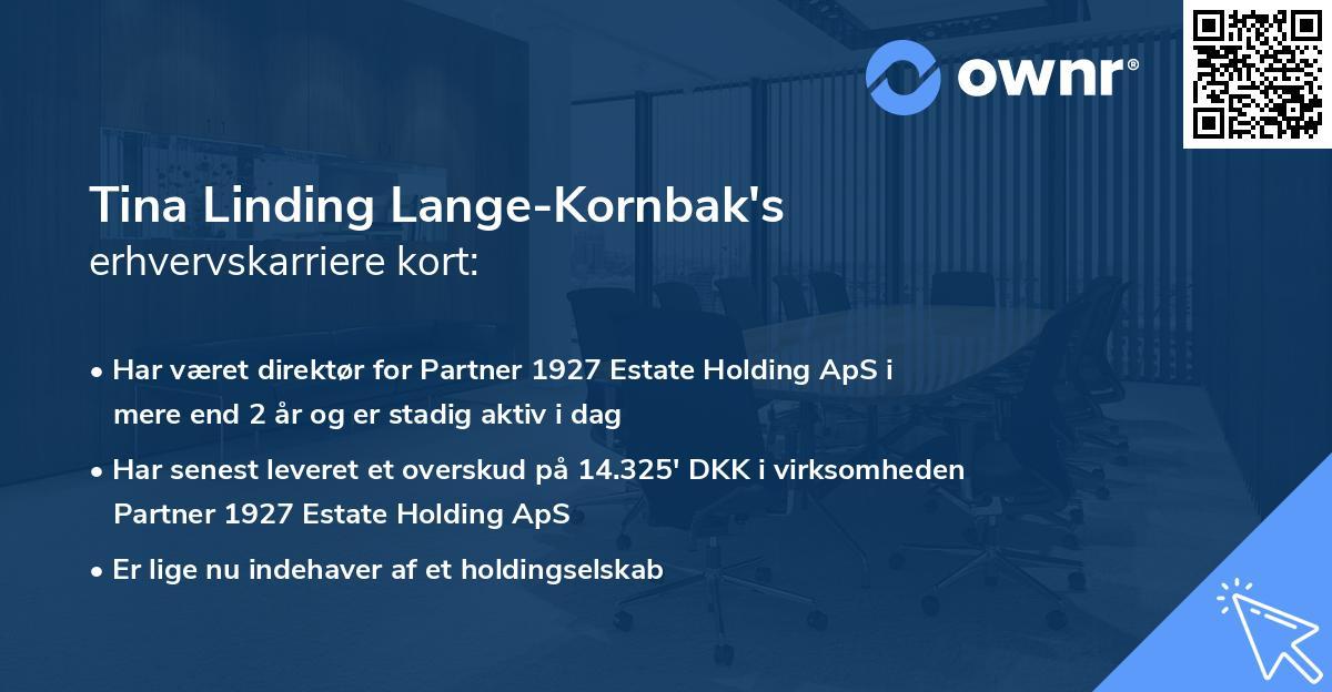 Tina Linding Lange-Kornbak's erhvervskarriere kort