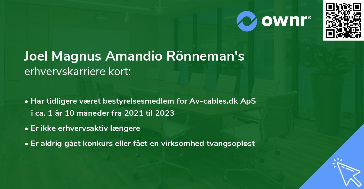 Joel Magnus Amandio Rönneman's erhvervskarriere kort