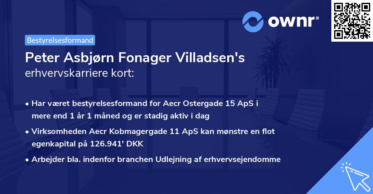 Peter Asbjørn Fonager Villadsen's erhvervskarriere kort