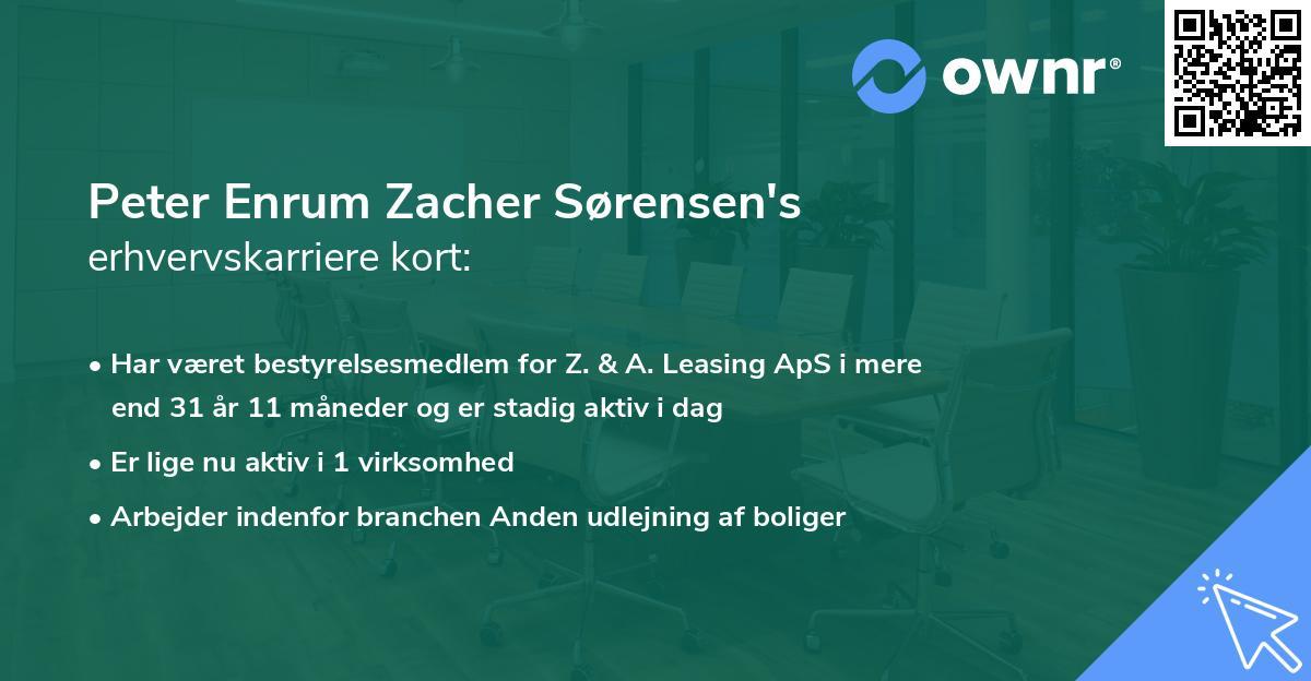 Peter Enrum Zacher Sørensen's erhvervskarriere kort