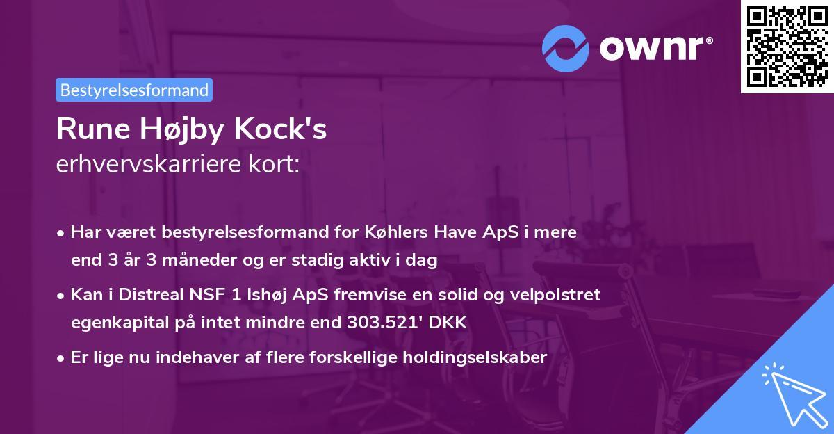 Rune Højby Kock's erhvervskarriere kort