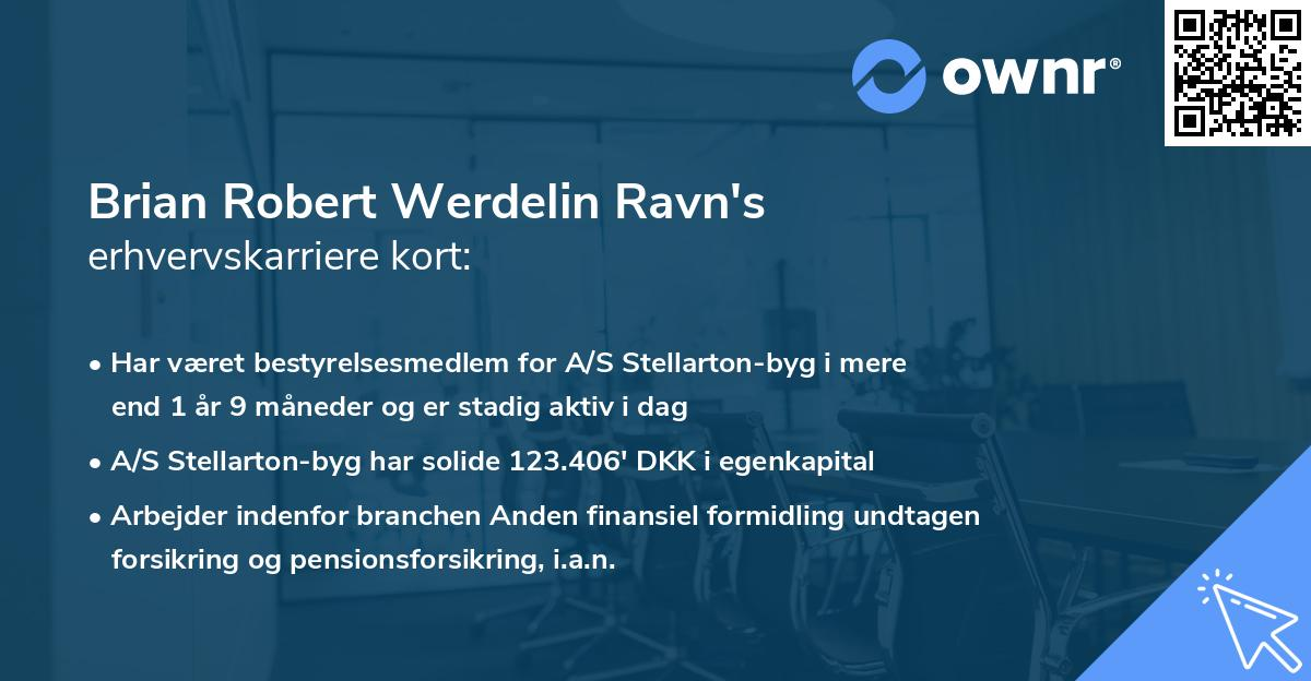 Brian Robert Werdelin Ravn's erhvervskarriere kort