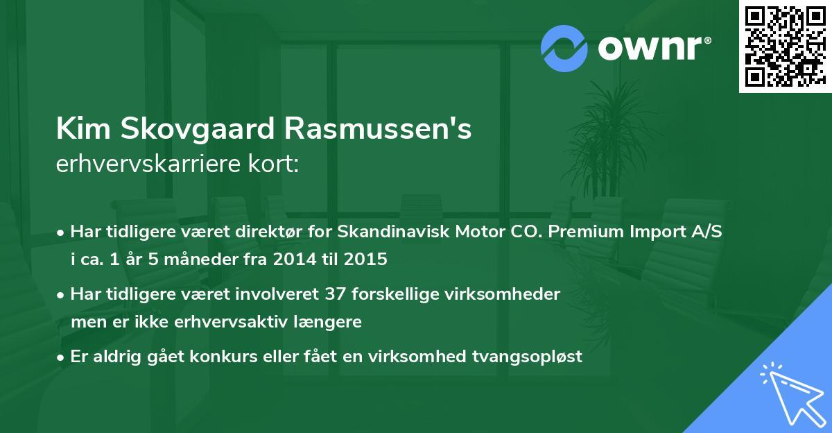 Kim Skovgaard Rasmussen's erhvervskarriere kort