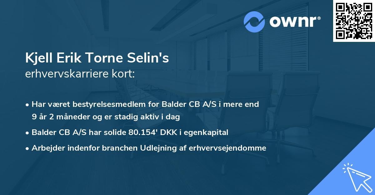 Kjell Erik Torne Selin's erhvervskarriere kort