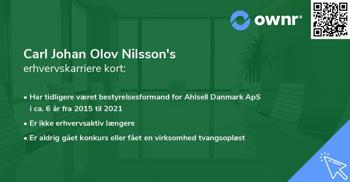 Carl Johan Olov Nilsson's erhvervskarriere kort