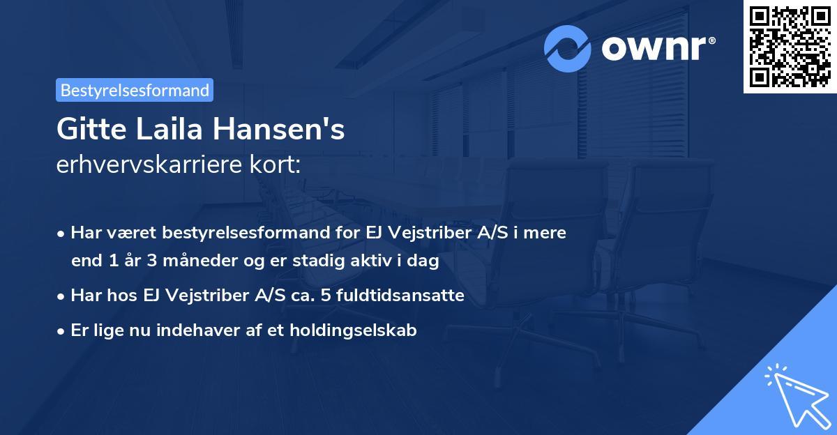Gitte Laila Hansen's erhvervskarriere kort